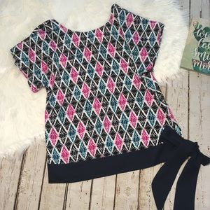 Ann Taylor pink and blue bow top size Small